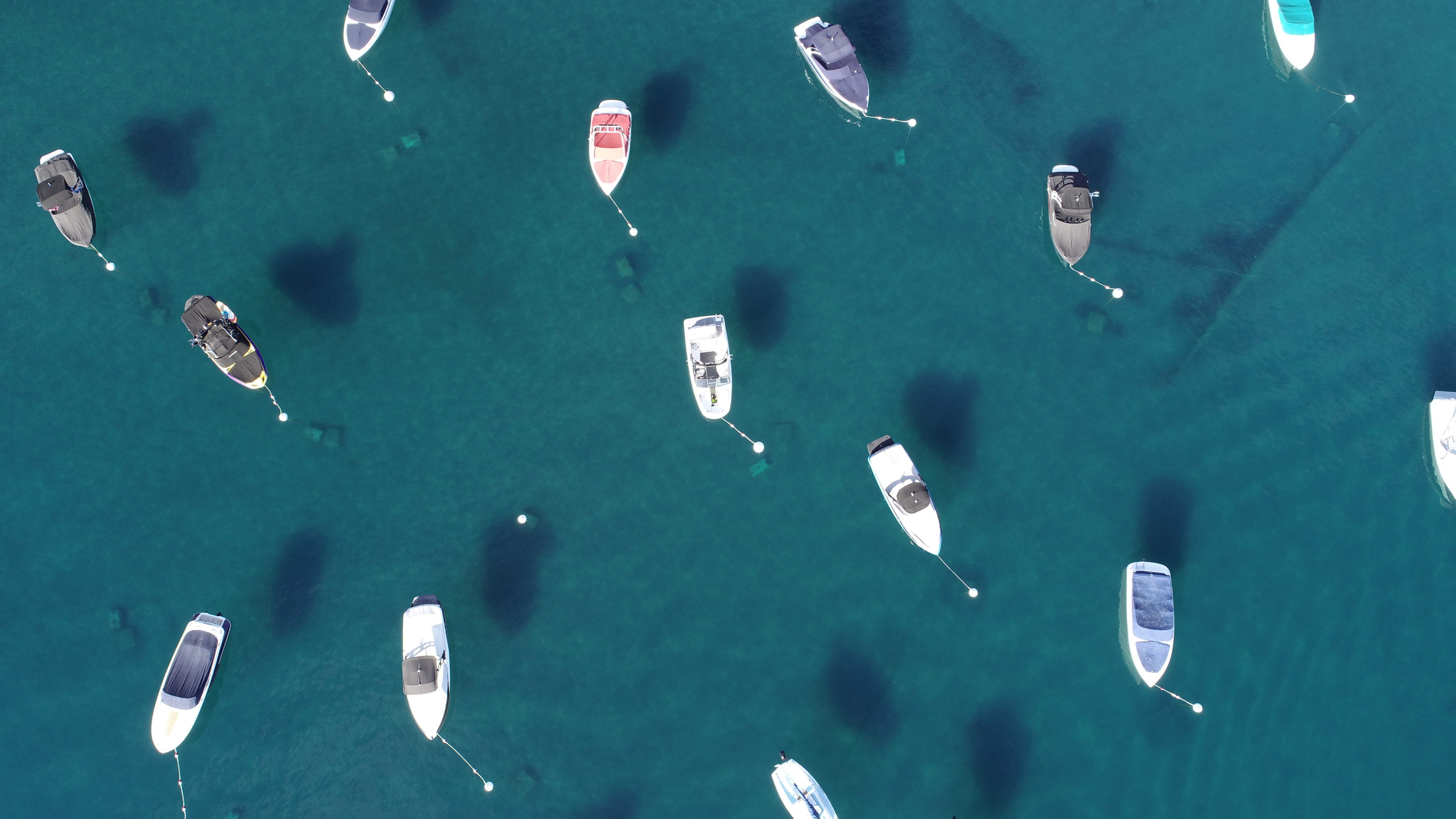 drone photo of boats on buoy at Homewood High and Dry Marina